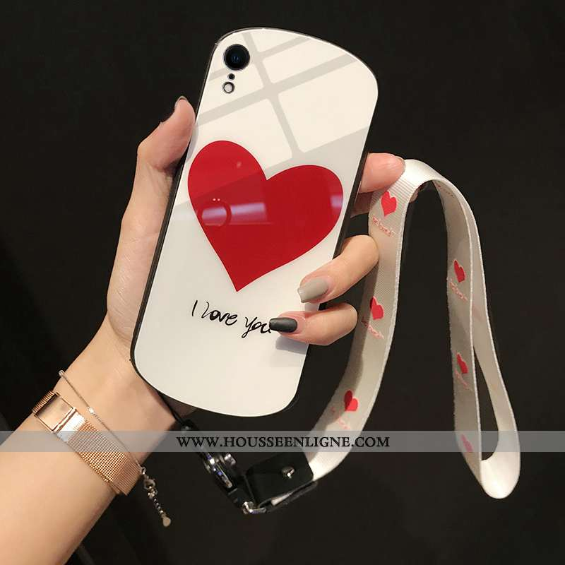 Étui iPhone Xr Silicone Verre Amour Rond Téléphone Portable Coque Rouge