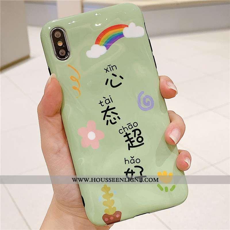 Étui iPhone Xs Fluide Doux Personnalité Amoureux Vert Style Chinois Nouveau Coque Verte