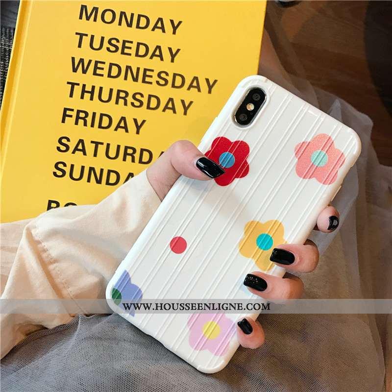 Étui iPhone Xs Fluide Doux Silicone Incassable Net Rouge Fleurs Téléphone Portable Personnalité Blan