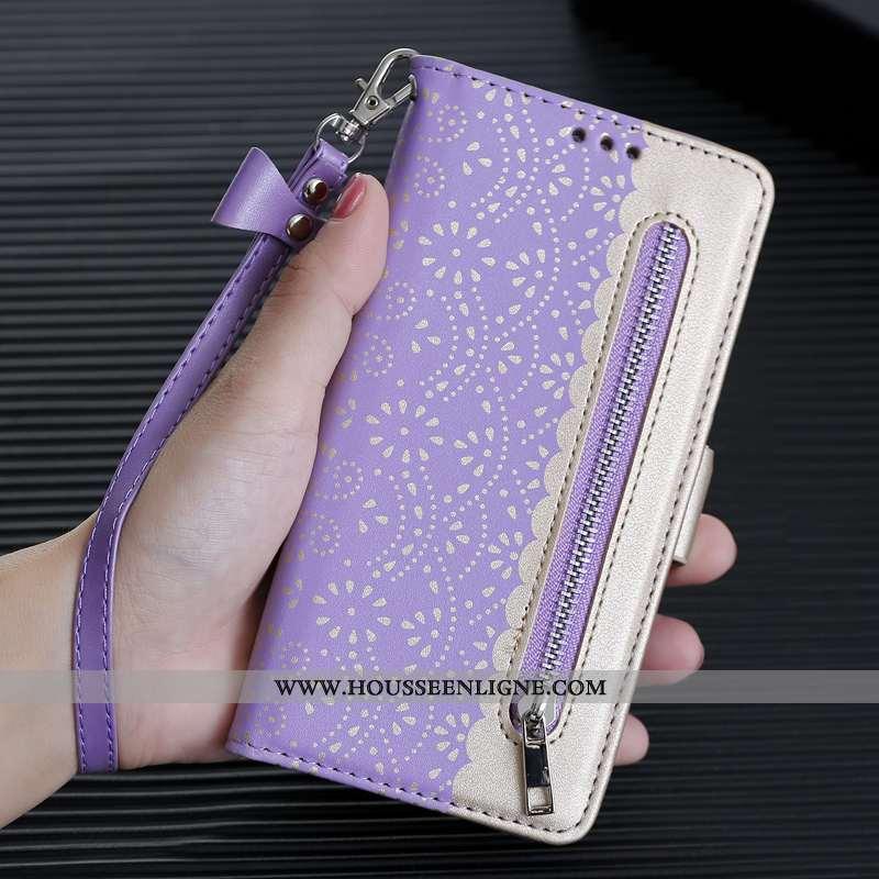 Étui iPhone Xs Max Créatif Fermeture Éclair Personnalité Téléphone Portable Clamshell Cuir Violet
