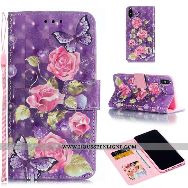 Étui iPhone Xs Max Cuir Protection Incassable Téléphone Portable Violet Charmant Tout Compris