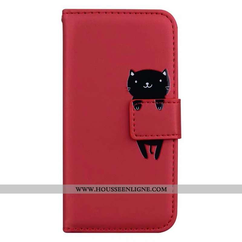 Étui iPhone Xs Max Cuir Protection Rouge Clamshell Téléphone Portable Charmant Coque