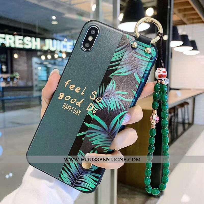 Étui iPhone Xs Max Dessin Animé Charmant Support Fluide Doux Coque Bracelet Protection Verte