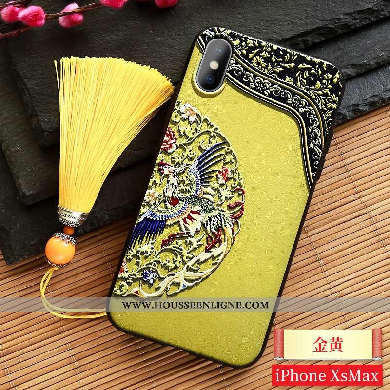Étui iPhone Xs Max Ornements Suspendus Gaufrage Palais Jaune Vent Style Chinois