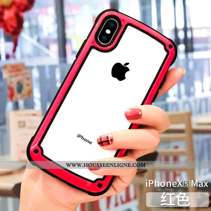 Étui iPhone Xs Max Protection Transparent Silicone Net Rouge Rouge Tout Compris Téléphone Portable