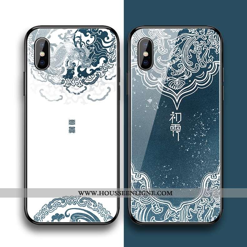 Étui iPhone Xs Max Silicone Verre Simple Fleur Style Chinois Fluide Doux Bleu