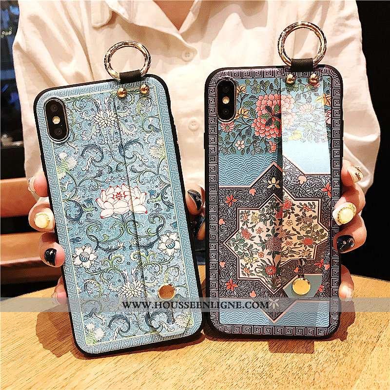 Étui iPhone Xs Max Silicone Vintage Palais Incassable Coque Vent Bleu
