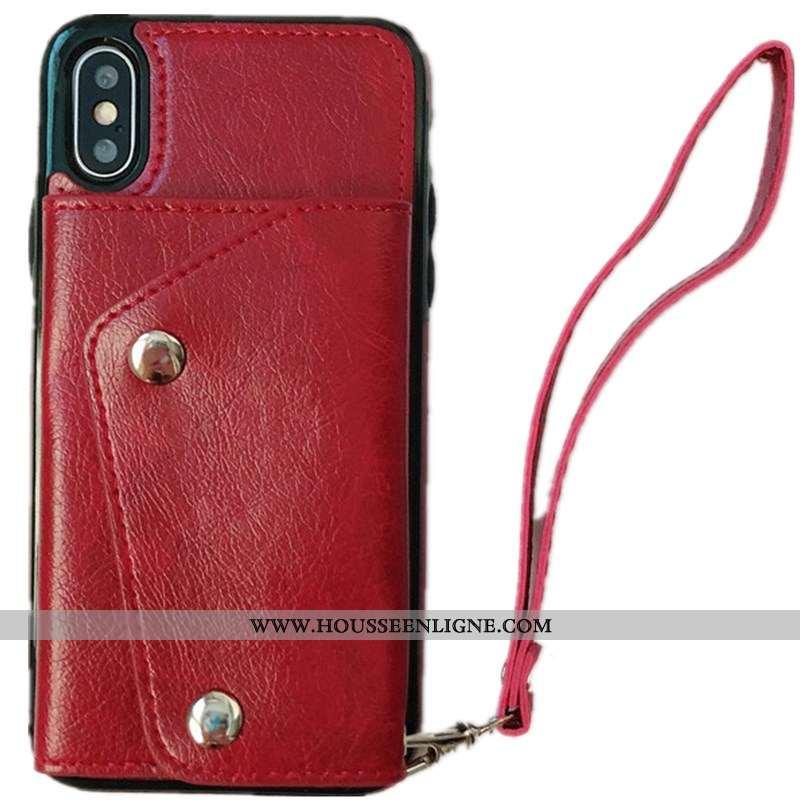 Étui iPhone Xs Max Tendance Cuir Courte Rouge Coque Net Rouge