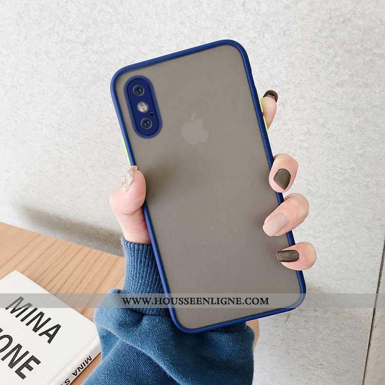 Étui iPhone Xs Max Transparent Délavé En Daim Nouveau Coque Net Rouge Personnalité Tout Compris Bleu