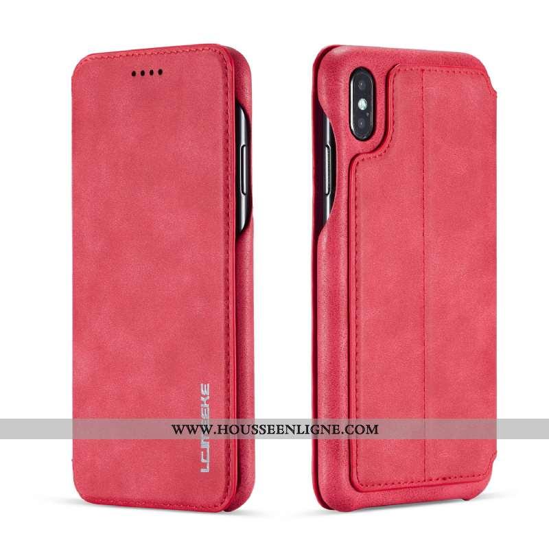 Étui iPhone Xs Protection Ultra Rouge Cuir Clamshell Légère Tout Compris