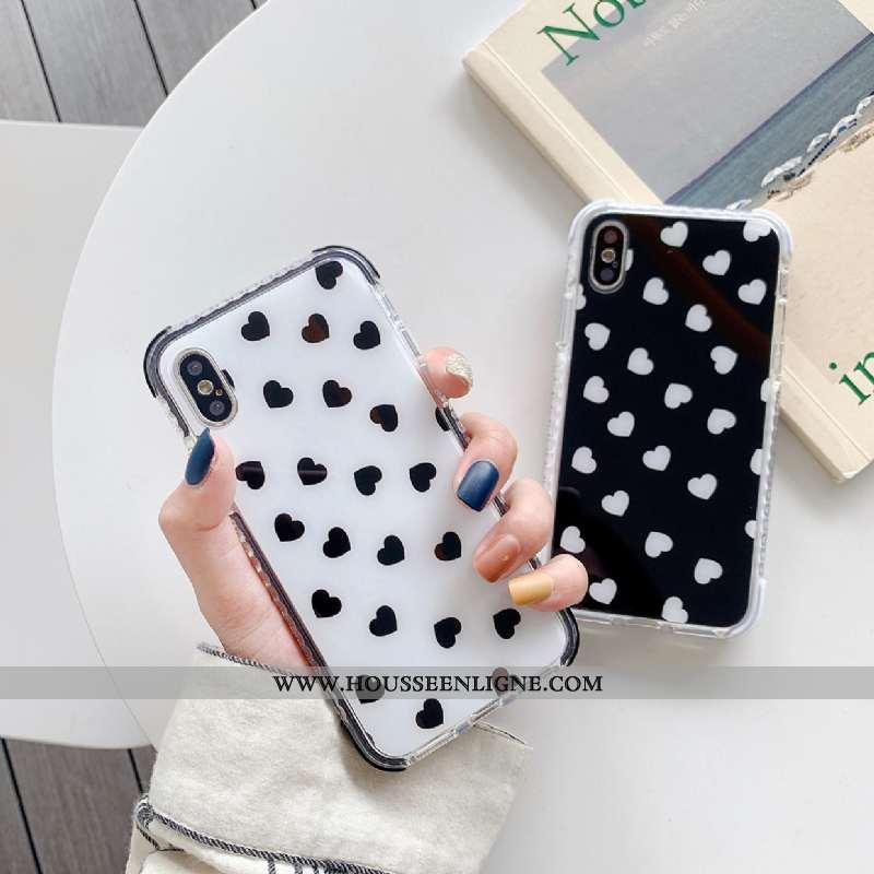 Étui iPhone Xs Silicone Tendance Amour Incassable Blanc Simple Tout Compris Noir