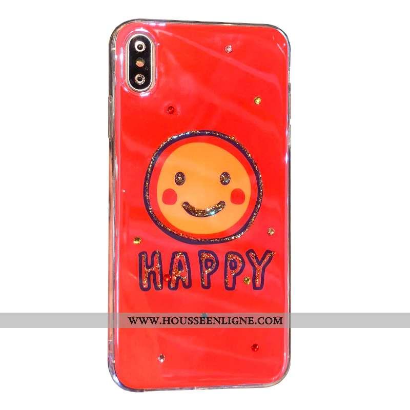 Étui iPhone Xs Strass Charmant Rouge Souriant Téléphone Portable Coque