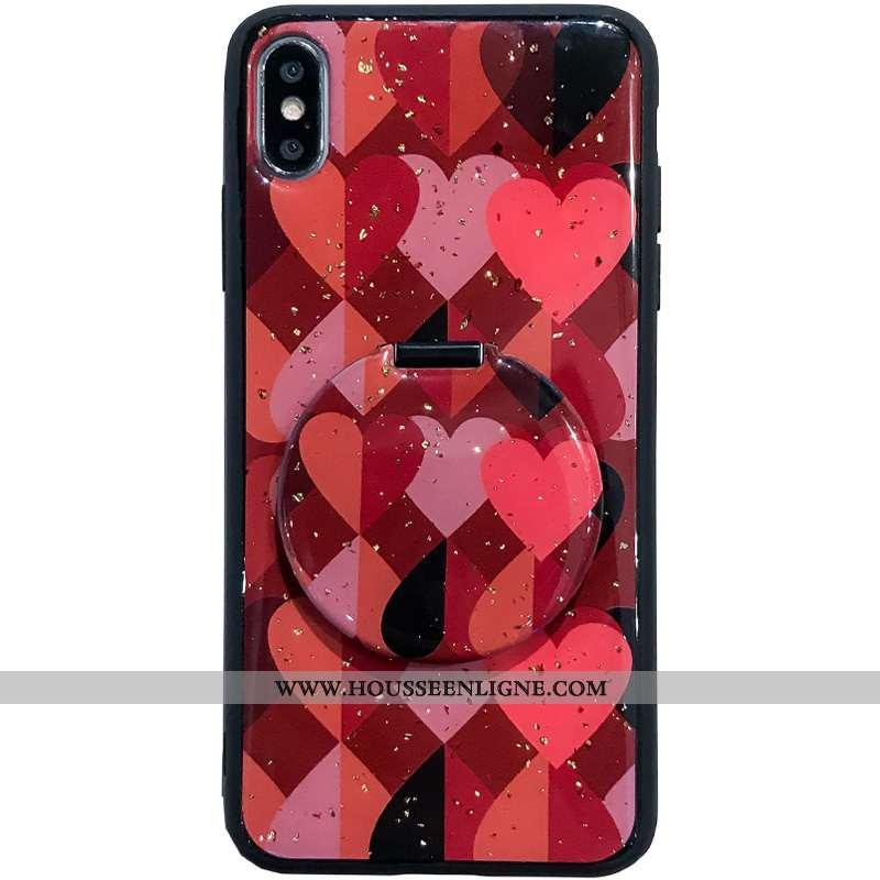 Étui iPhone Xs Tendance Verre Miroir Téléphone Portable Support Coque Rouge