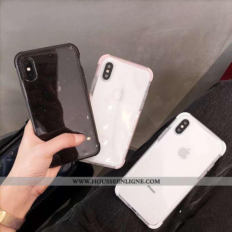 Étui iPhone Xs Transparent Personnalité Fluide Doux Noir Tout Compris Tendance Net Rouge