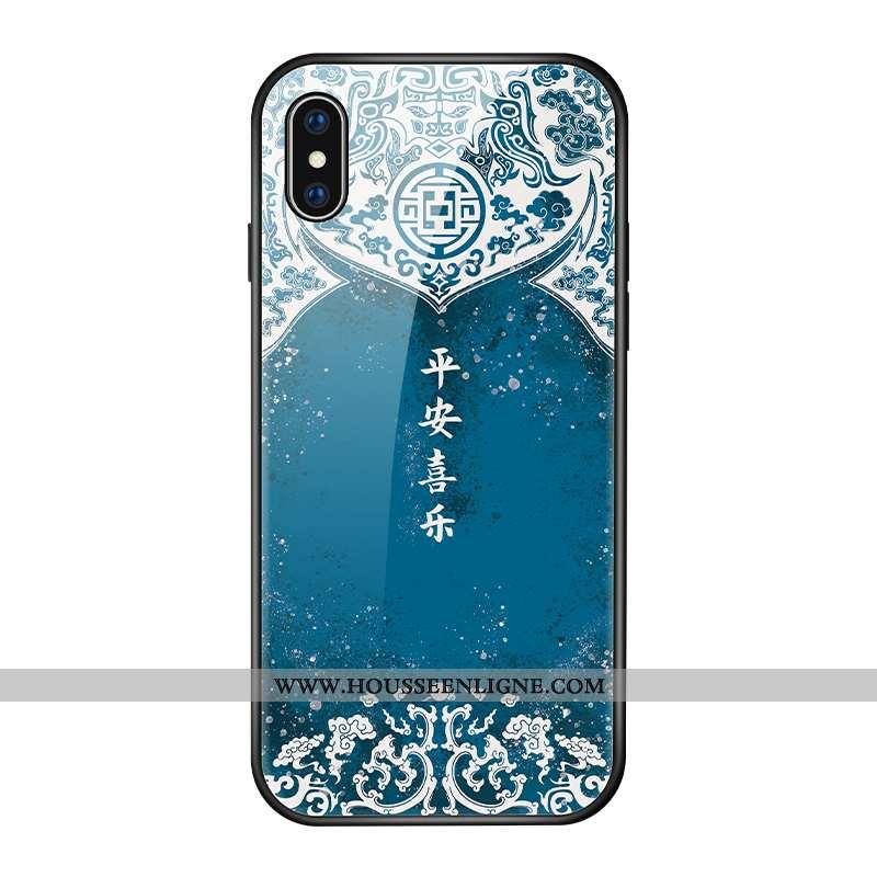 Étui iPhone Xs Verre Personnalité Luxe Coque Vintage Créatif Bleu