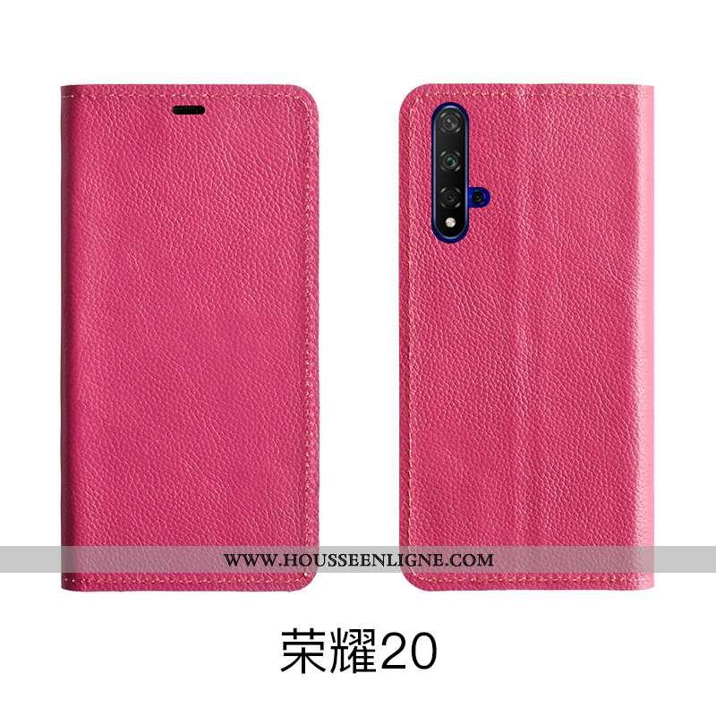 Coque Honor 20 Cuir Modèle Fleurie Protection Véritable Bovins Étui Téléphone Portable Rose
