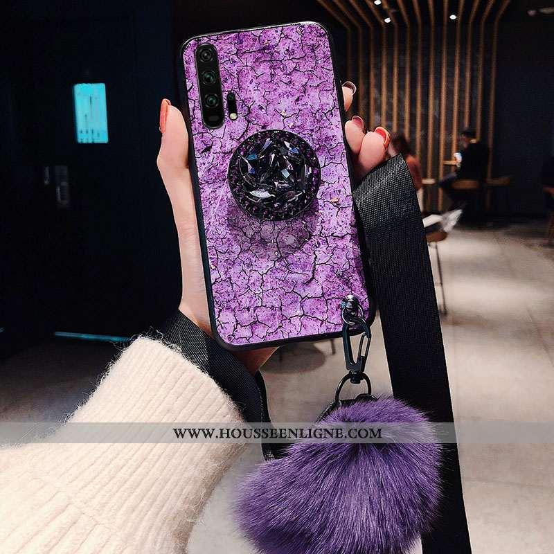 Coque Honor 20 Pro Fluide Doux Silicone Tendance Incassable Protection Ornements Suspendus Violet