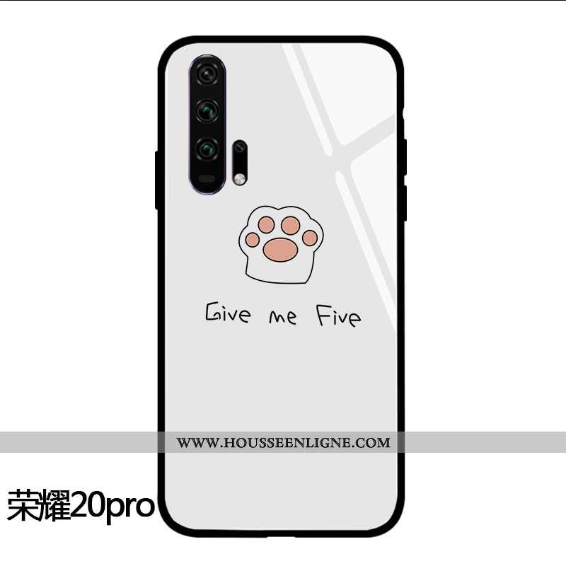 Coque Honor 20 Pro Personnalité Dessin Animé Incassable Téléphone Portable Chat Frais Silicone Blanc