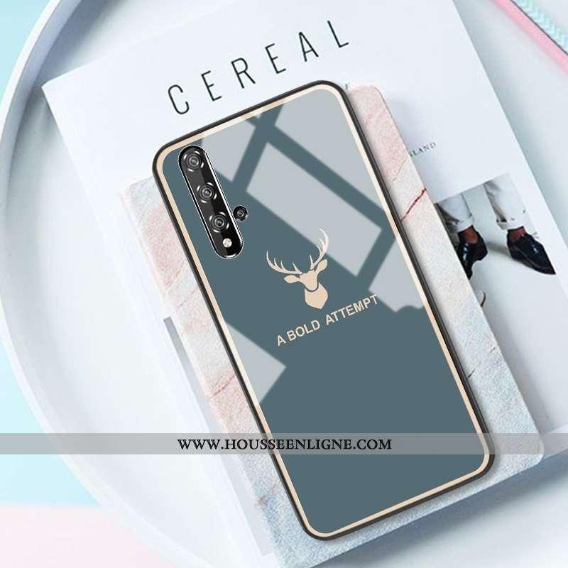 Coque Honor 20 Verre Créatif Net Rouge Téléphone Portable Cerf Miroir Bleu