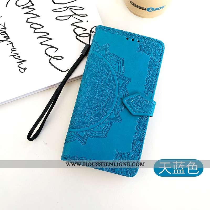 Coque Honor 30 Cuir Fluide Doux Carte Une Agrafe Clamshell Gaufrage Tout Compris Bleu