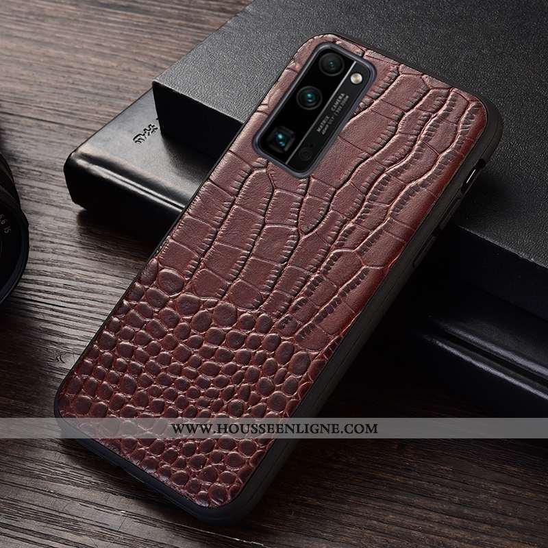 Coque Honor 30 Pro Protection Cuir Véritable Étui Crocodile Téléphone Portable Incassable Marron