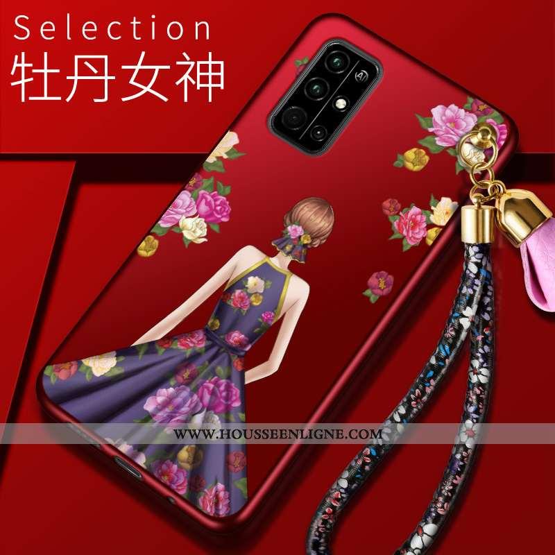 Coque Honor 30s Protection Charmant Étui Téléphone Portable Rouge Fluide Doux