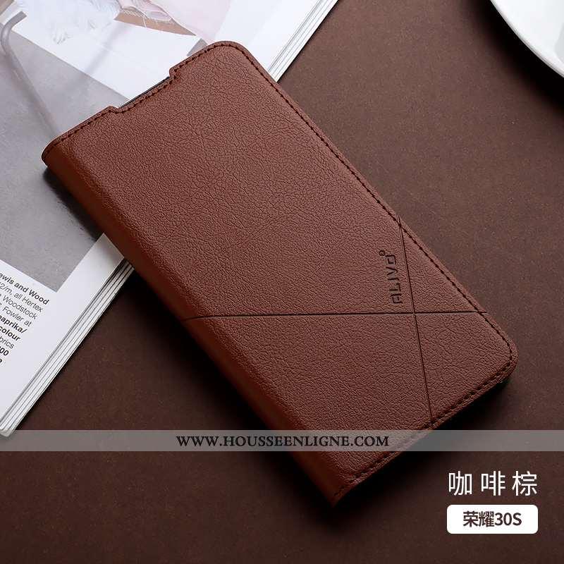 Coque Honor 30s Protection Cuir Téléphone Portable Marron Fluide Doux Étui Business