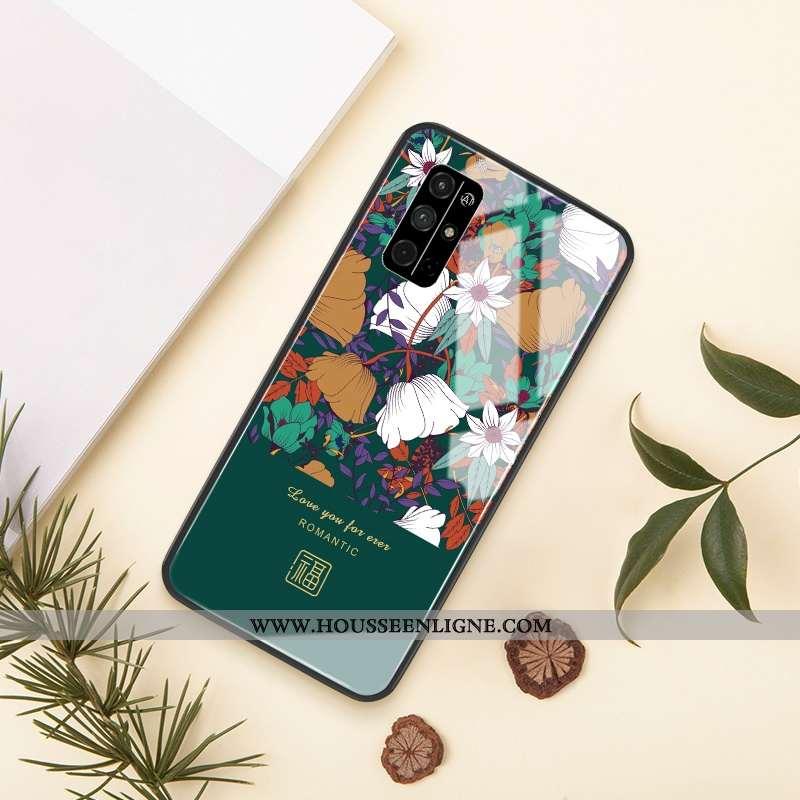 Coque Honor 30s Verre Créatif Incassable Net Rouge Vert Téléphone Portable Fleur Verte
