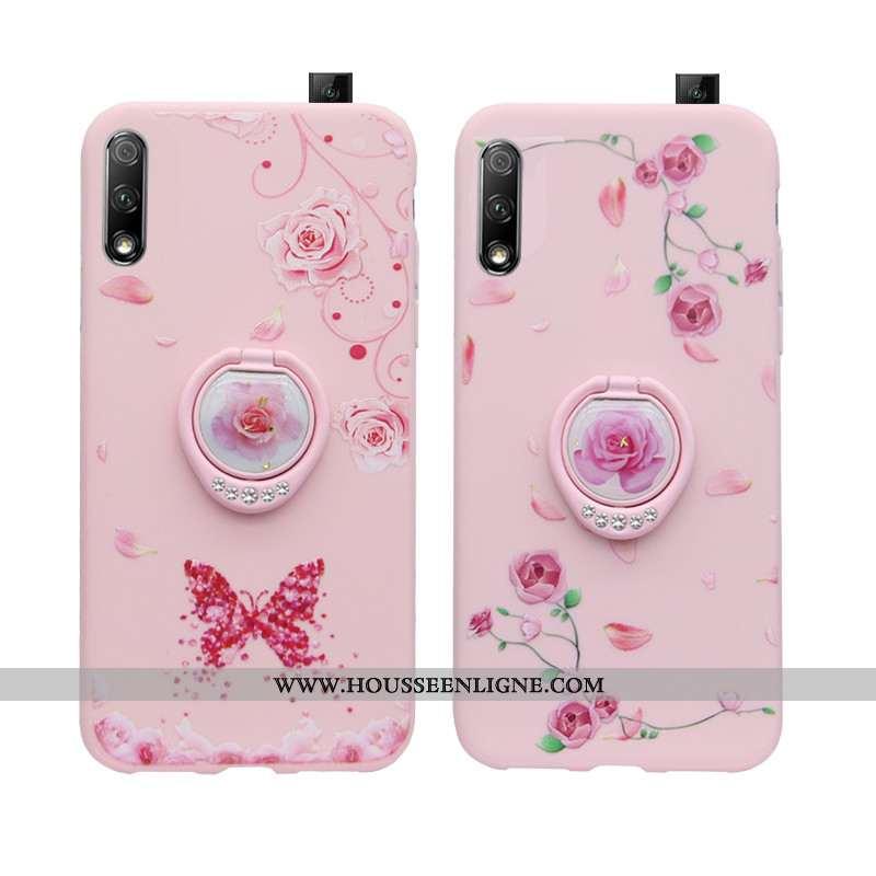 Coque Honor 9x Fluide Doux Silicone Rose Ornements Suspendus Téléphone Portable Strass Tendance