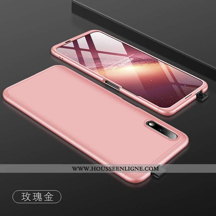 Coque Honor 9x Mode Délavé En Daim Incassable Simple Membrane Rose Téléphone Portable