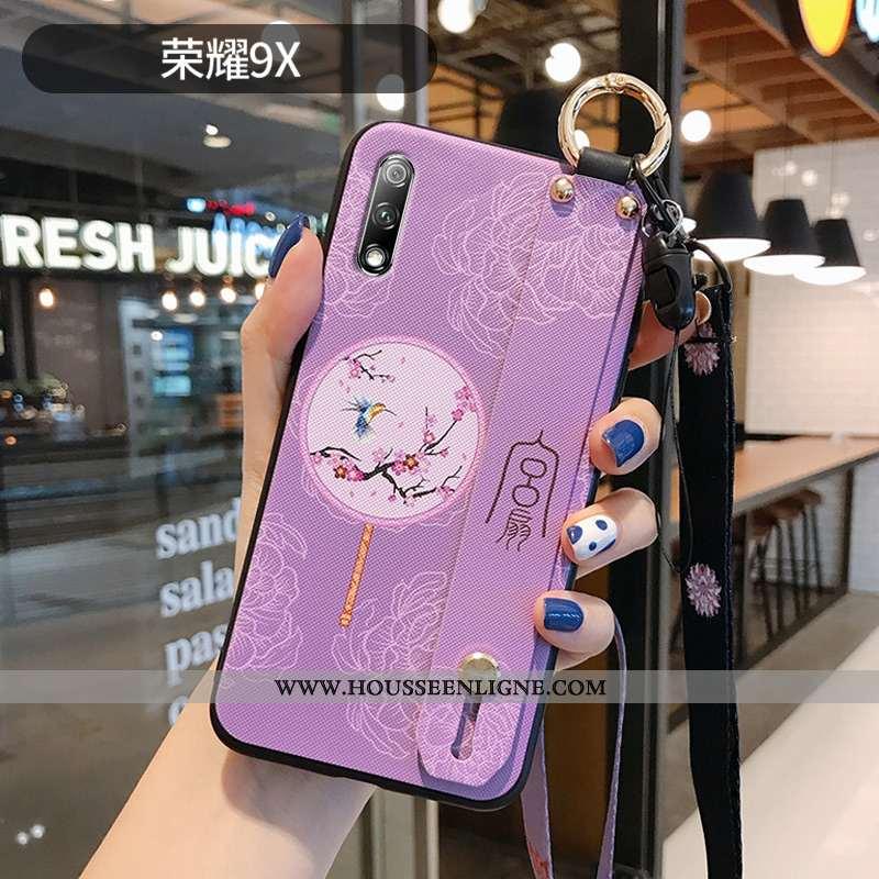 Coque Honor 9x Personnalité Créatif Violet Protection Étui Style Chinois Silicone