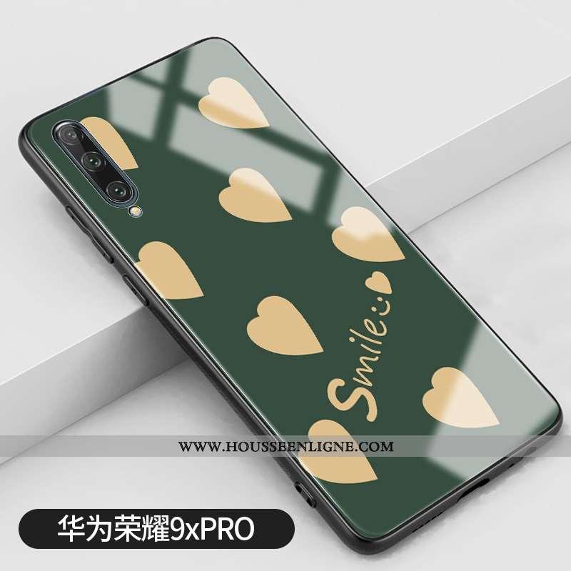 Coque Honor 9x Pro Créatif Tendance Vert Amour Téléphone Portable Verre Silicone Verte