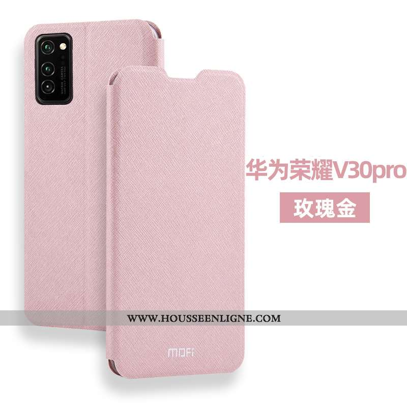 Coque Honor View30 Pro Protection Cuir Tout Compris Clamshell Incassable Silicone Rose