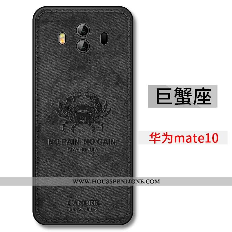 Coque Huawei Mate 10 Légère Fluide Doux Téléphone Portable Ultra Délavé En Daim Constellation Noir