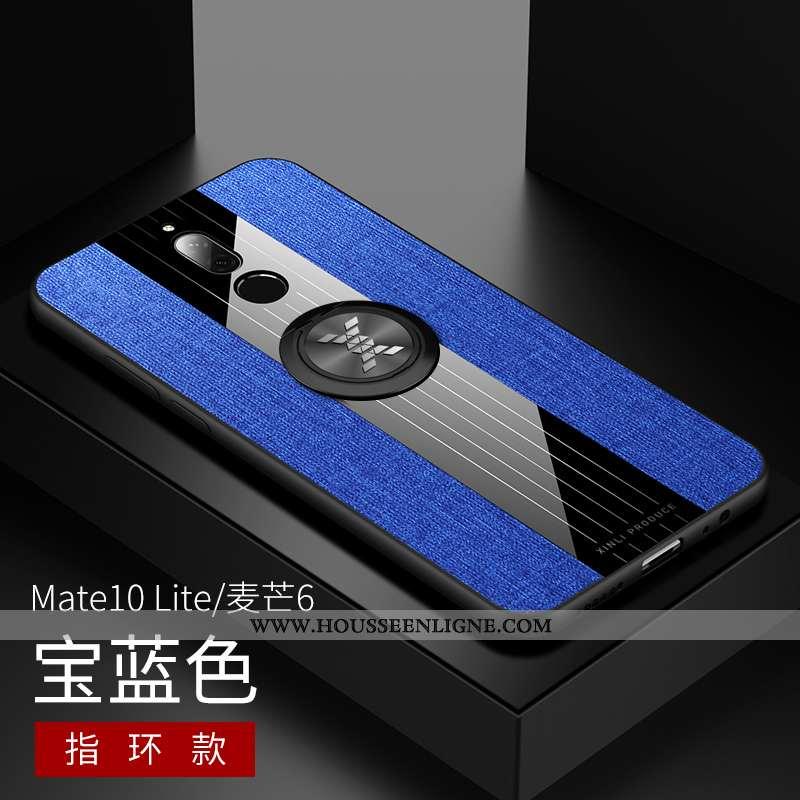 Coque Huawei Mate 10 Lite Fluide Doux Silicone Modèle Fleurie Téléphone Portable Bleu Incassable
