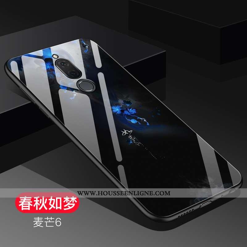 Coque Huawei Mate 10 Lite Tendance Fluide Doux Verre Étui Noir Créatif