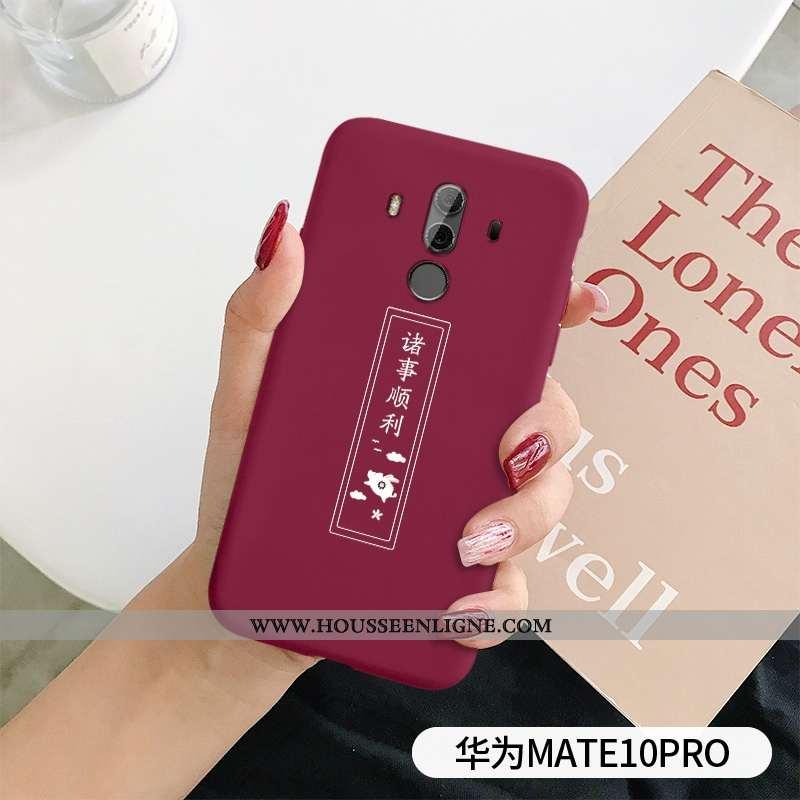 Coque Huawei Mate 10 Pro Tendance Légère Protection Délavé En Daim Ultra Silicone Simple Rouge