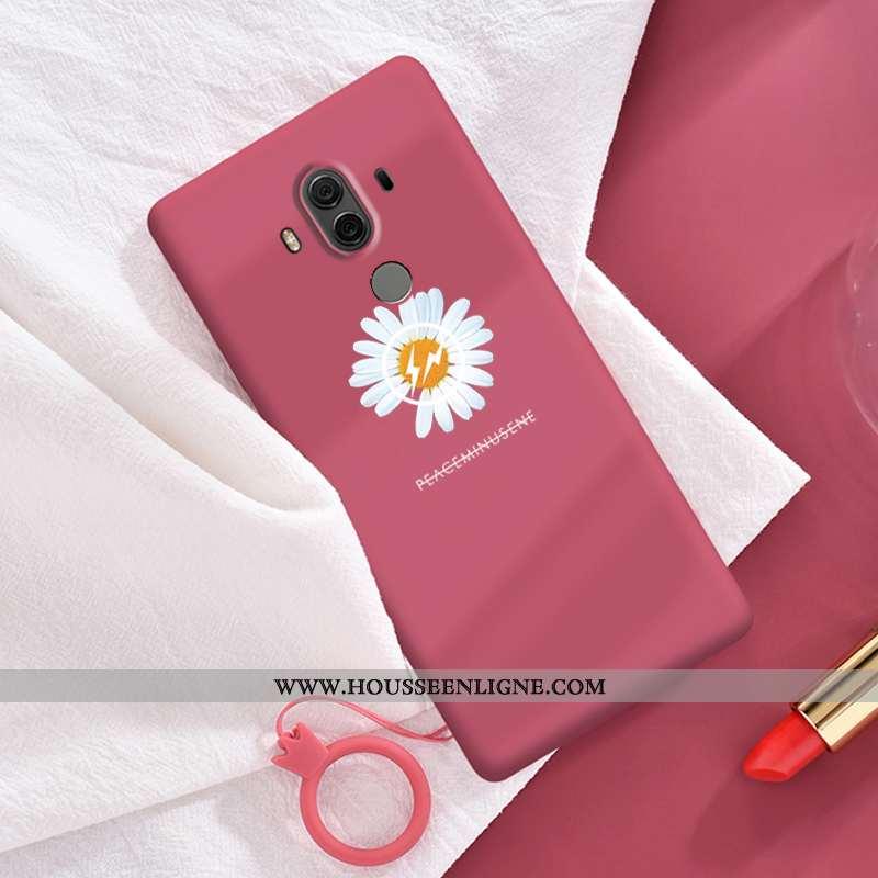 Coque Huawei Mate 10 Pro Tendance Silicone Rouge Amoureux Personnalité Petite Marguerite Simple