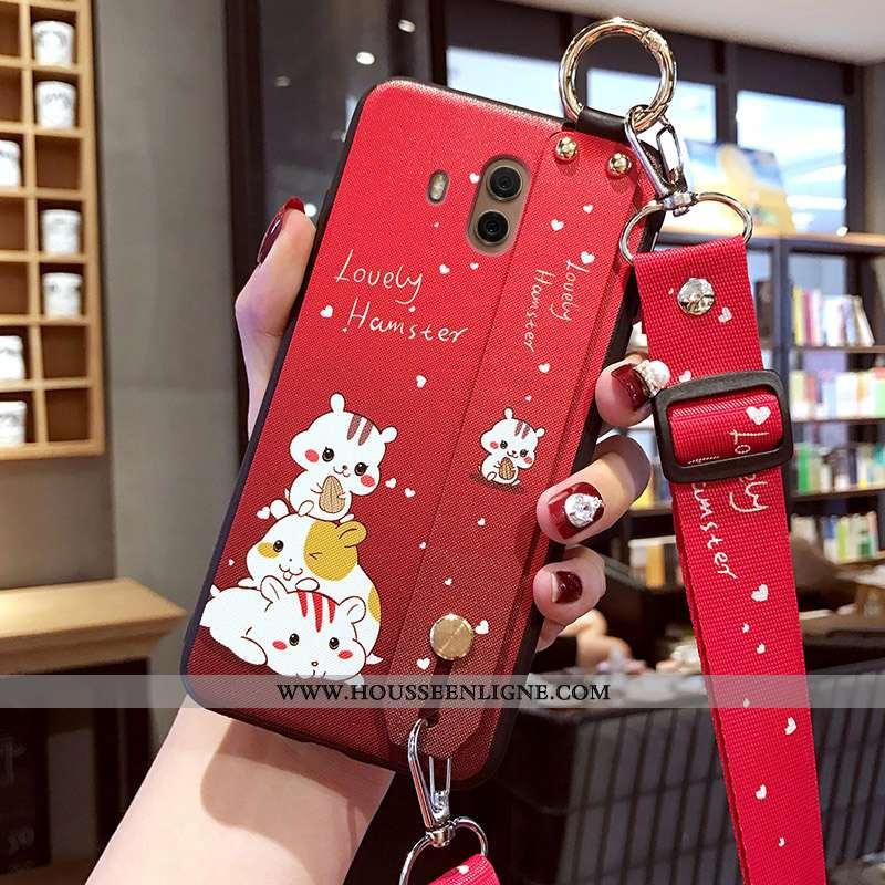 Coque Huawei Mate 10 Protection Délavé En Daim Étui Charmant Silicone Rouge