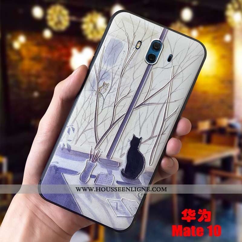 Coque Huawei Mate 10 Protection Délavé En Daim Tout Compris Violet Personnalité Petit