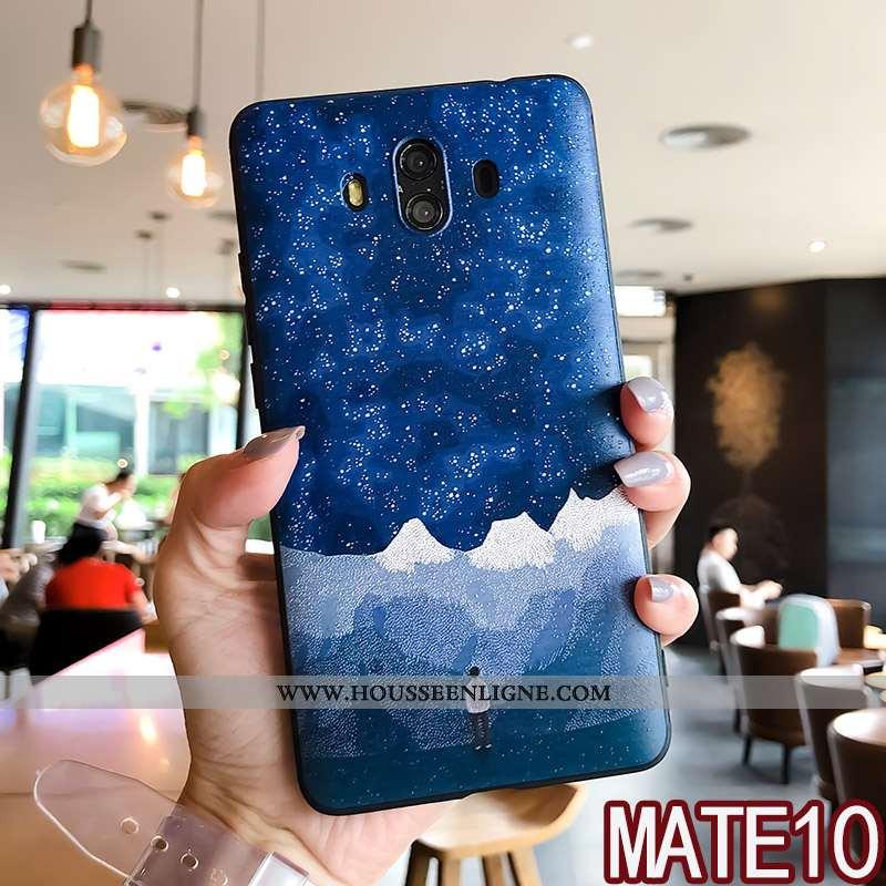 Coque Huawei Mate 10 Tendance Fluide Doux Gaufrage Étui Silicone Créatif Bleu