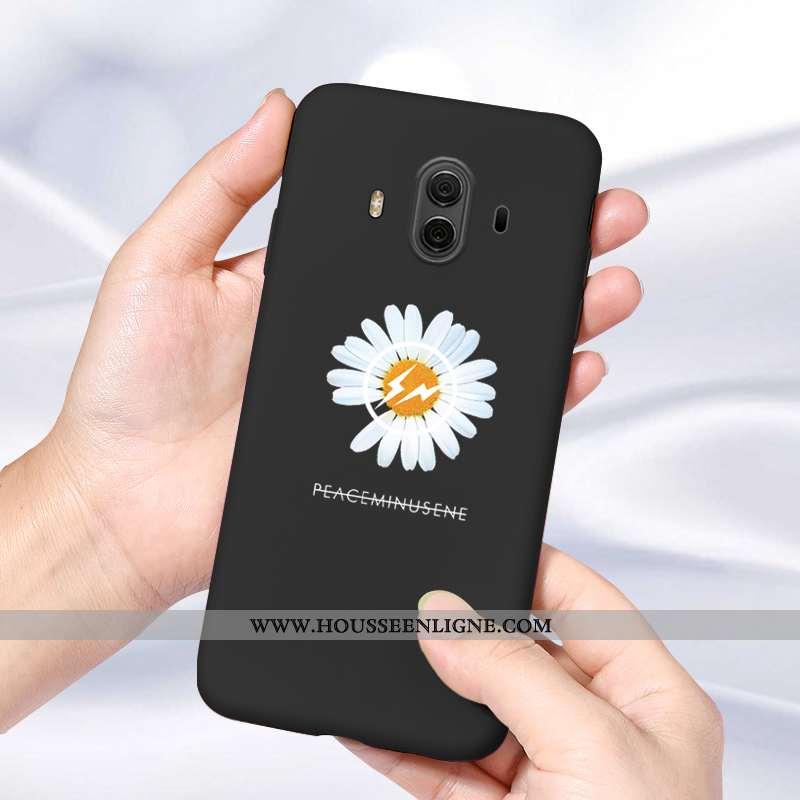 Coque Huawei Mate 10 Tendance Silicone Simple Personnalité Petite Marguerite Amoureux Noir
