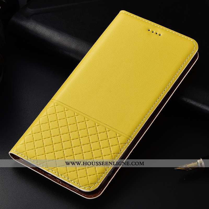 Coque Huawei Mate 20 Lite Protection Cuir Véritable Tout Compris Jaune Téléphone Portable Plaid Cuir