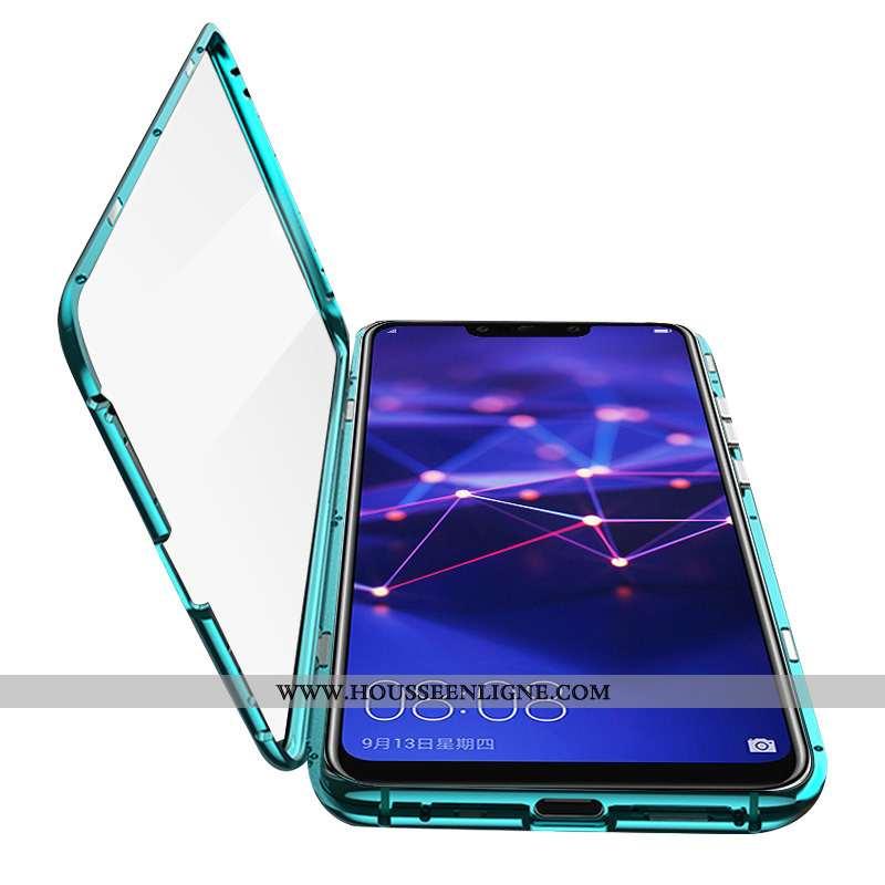Coque Huawei Mate 20 Lite Verre Transparent Tendance Vert Métal Difficile Téléphone Portable Verte