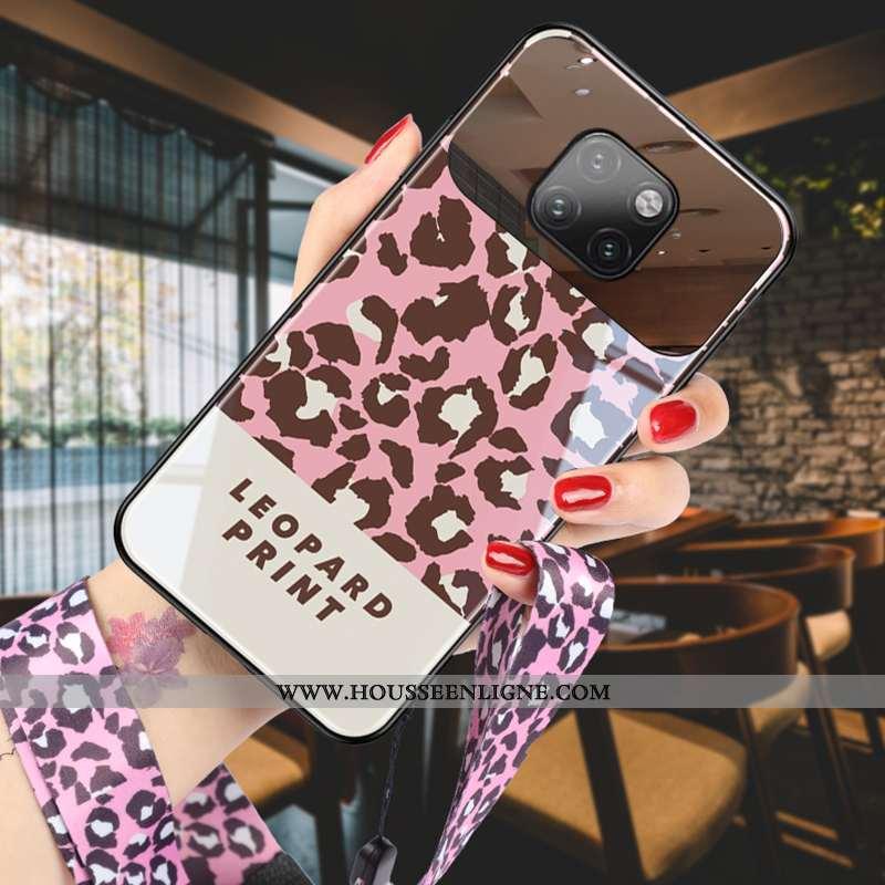 Coque Huawei Mate 20 Pro Créatif Modèle Fleurie Personnalité Protection Rose Verre Miroir