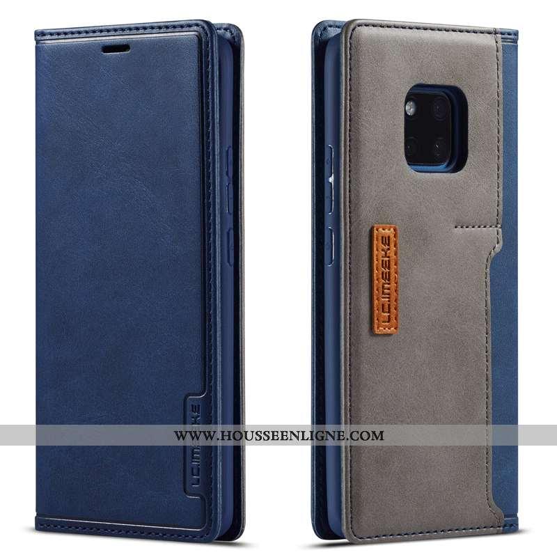 Coque Huawei Mate 20 Pro Cuir Véritable Carte Étui Housse Reversible Téléphone Portable Bleu
