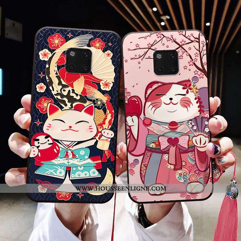 Coque Huawei Mate 20 Pro Fluide Doux Personnalité À Franges Chat Téléphone Portable Rose Incassable