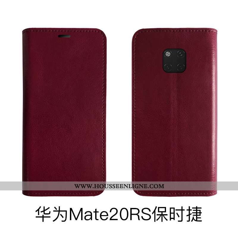 Coque Huawei Mate 20 Rs Cuir Véritable Cuir Téléphone Portable Protection Housse Noir Étui