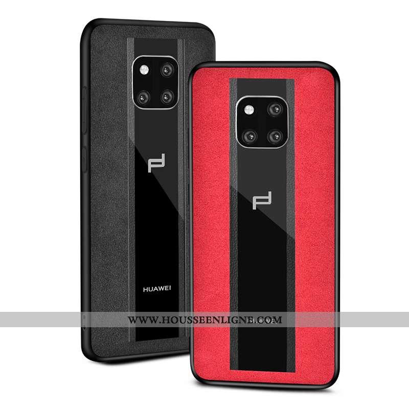 Coque Huawei Mate 20 Rs Daim Fourrure Protection Verre Étui Téléphone Portable Incassable Rouge