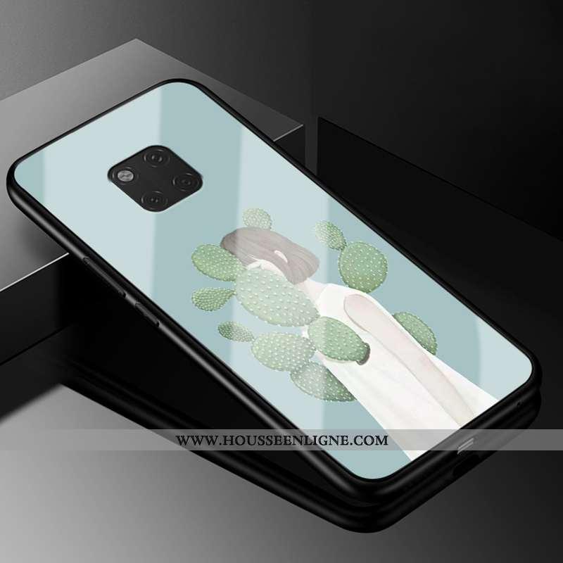 Coque Huawei Mate 20 Rs Verre Vintage Fluide Doux Téléphone Portable Amoureux Tout Compris Bleu